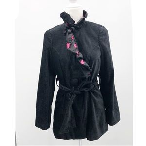 3 Sisters Black trench coat jacket ruffle collar